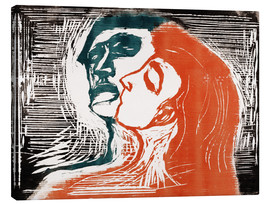 Lienzo  Man and woman is kissing - Edvard Munch