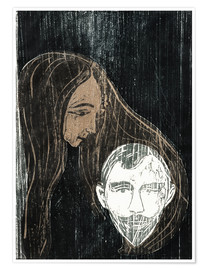 Póster Male Head with Woman's Hair