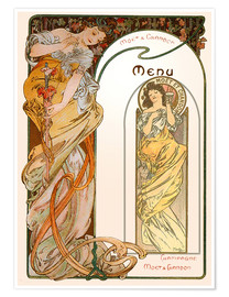 Póster  Moet & Chandon Menu orange - Alfons Mucha