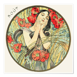 Póster  Les Mois - August - Alfons Mucha
