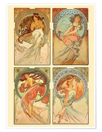 Póster   The four arts, collage - Alfons Mucha