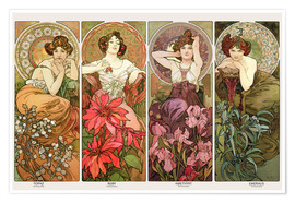 Póster  The precious stones - Alfons Mucha