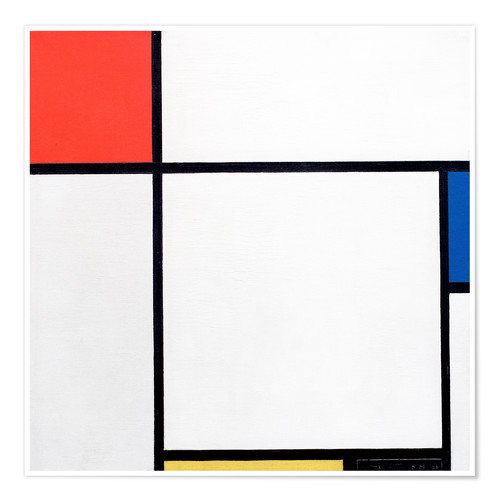 Póster Composition Red, Blue, Yellow, Black