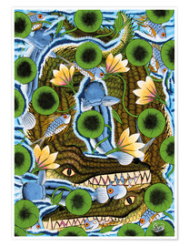 Póster  Crocodiles in water lilies - Zuberi