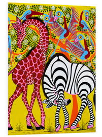 Cuadro de PVC  Zebra with Giraffe in the bush - Omary