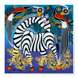 Póster Zebra with herons