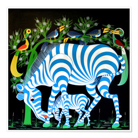 Póster Blue Zebras at night