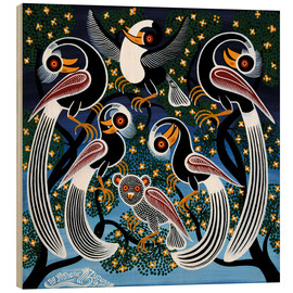 Cuadro de madera  Flock of birds at bedtime - Mzuguno