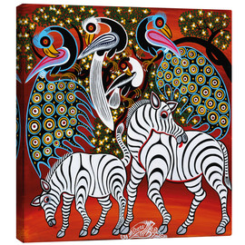 Lienzo  Zebras with peacock - Mzuguno