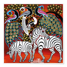 Póster  Zebras with peacock - Mzuguno
