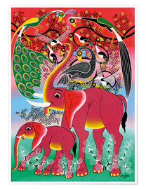 Póster Red Elephant with peacock