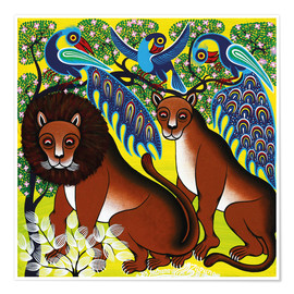 Póster  Lion with peacock - Mzuguno