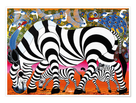 Póster Zebras on foraging