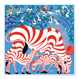 Póster  Zebras in red - Mustapha