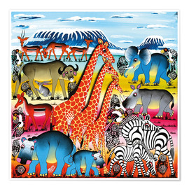 Póster  Animal life in Africa - Mrope