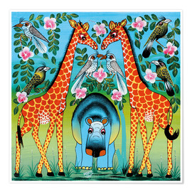 Póster  Hippo with giraffes - Mrope