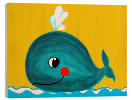 Cuadro de madera  Frida, the friendly whale - Little Miss Arty