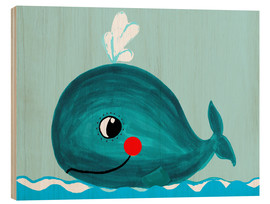 Cuadro de madera  Willfried, la ballena amiga - Little Miss Arty