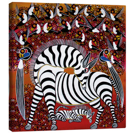 Lienzo  Zebra with a large flock of birds - Hassani
