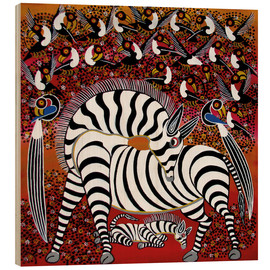 Cuadro de madera  Zebra with a large flock of birds - Hassani