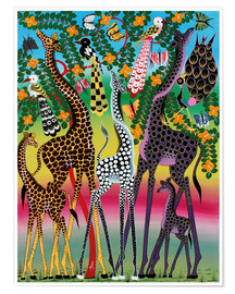 Póster  Giraffes in African colors - Maulana