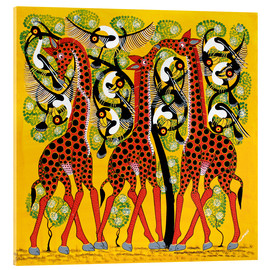 Cuadro de metacrilato  Giraffe Trio and flock of birds - Chiwaya