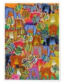 Póster Colorful hippo herd