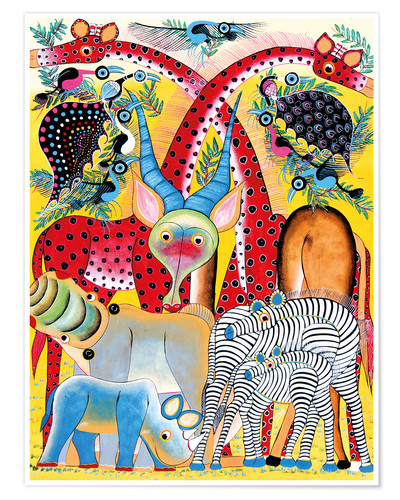Póster Colorful wild animals of Africa