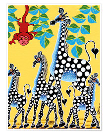 Póster Funny monkey with giraffes