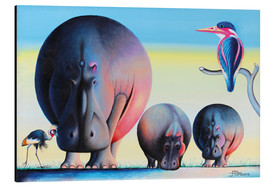 Aluminio-Dibond  Hippo mother with cubs - Mkura