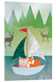 Cuadro de metacrilato  Cute Owl and Fox Boat - GreenNest