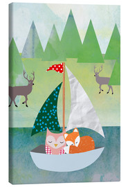 Lienzo  Cute Owl and Fox Boat - GreenNest