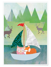 Póster  Cute Owl and Fox Boat - GreenNest