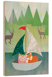 Cuadro de madera  Cute Owl and Fox Boat - GreenNest