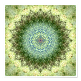 Póster Mandala yellow green