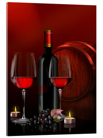 Metacrilato  Two wine glasses with red wine bottle and grapes - Kalle60