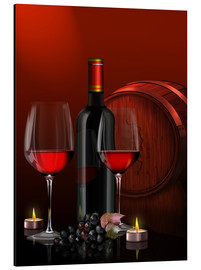 Aluminio-Dibond  Two wine glasses with red wine bottle and grapes - Kalle60