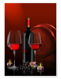 Póster  Two wine glasses with red wine bottle and grapes - Kalle60