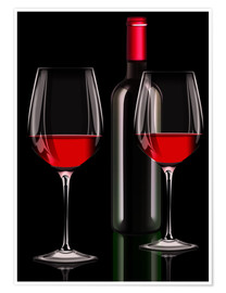 Póster Red wine, red wine bottle with two glasses of red wine