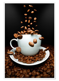 Póster Falling coffee beans cup