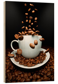 Cuadro de madera  Falling coffee beans cup - pixelliebe