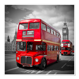 Póster  LONDON Red Buses - Melanie Viola