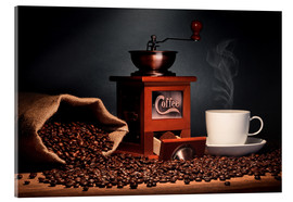 Cuadro de metacrilato  Coffee grinder with beans and coffee cup - pixelliebe