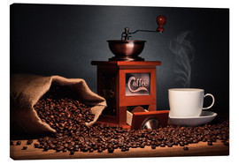 Lienzo  Coffee grinder with beans and coffee cup - pixelliebe