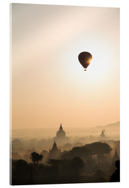 Cuadro de metacrilato  Sunrise with balloon, Bagan - Matteo Colombo