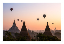 Póster  Balloons and temples, Bagan - Matteo Colombo