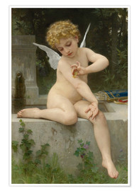 Póster  Cupid with butterfly - William Adolphe Bouguereau
