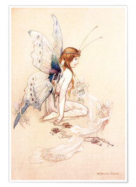 Póster  The fairies brought her a pretty pair of wings - Warwick Goble