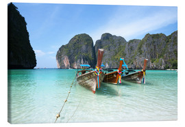 Lienzo  Long tail boats at Maya bay beach, Phi Phi island, Thailand - Matteo Colombo