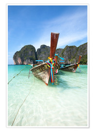 Póster  Decorated wooden boats, Thailand - Matteo Colombo